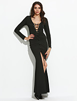 Women's Party Sexy Sheath Dress Solid V Neck Maxi Long Sleeve