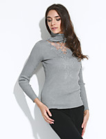 Women's Casual/Daily Sexy / Simple Regular PulloverSolid Turtleneck Long Sleeve Polyester Fall / Winter Medium