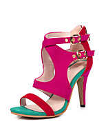 Sandals Spring Summer Fall Club Shoes Fleece Office & Career Party & Evening Dress Stiletto Heel Buckle Black Blue Red
