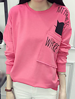 Women's Casual/Daily Simple Regular HoodiesLetter Pink Round Neck Long Sleeve Polyester Fall /