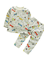 Boy's Casual/Daily Print Clothing Set / SleepwearCotton Spring / Fall Gray