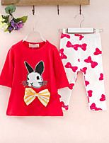 Girls' Casual/Daily Print Sets,Cotton Summer ¾ Sleeve Clothing Set