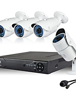960P POE Security System 4pcs 1.3MP Network IP Camera And 4CH 1080P CCTV NVR Support ONVIF