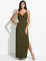 Women's Casual/Daily / Party/Cocktail Sexy / Simple Sheath DressSolid Criss-Cross Split Backless Strap Maxi Sleeveles