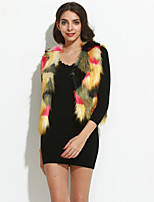 Women's Casual/Daily Simple Fur CoatColor Block V Neck Sleeveless Fall Red / Green Fox Fur Medium