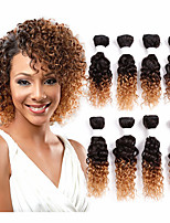 jerry curly human hair bundles 8piece/pack kinky curly weave brazilian texture ombre burgundy color 8inch human hair weft