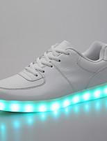 גברים-נעלי ספורט-דמוי עור-נוחות נעלי בובה (מרי ג'יין)-לבן שחור-שטח יומיומי-עקב שטוח