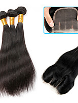 Natural Color Hair Weaves Brazilian Texture Straight 6 Months 4 Pieces hair weaves