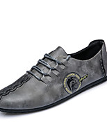 New Design for Men's Loafers & Slip-Ons Spring Summer Comfort Microfibre Wedding Office & Career Party & Evening Flat Heel Lace-up Khaki Gray Black