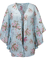 Women's Casual/Daily Beach Holiday Simple Cute Summer Blouse,Floral V Neck ½ Length Sleeve Polyester Sheer