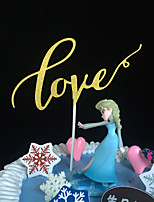 10pcs/lots  Cute Love Wedding Cake Topper Wedding Decoration Paper Glitter Cake Topper Baby Shower Wedding Favor/Supplies