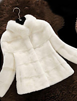 Women's Plus Size Simple Fur CoatSolid Stand Long Sleeve Winter Red / White / Black / Brown / Gray Faux Fur / PU Medium