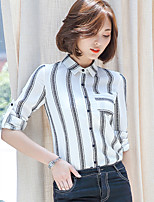 Really making 2017 spring new Women Korean Fan Slim striped chiffon shirt female backing shirt