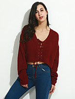 Women's Going out Casual/Daily Vintage Street chic Regular Cardigan,Solid Red Black V Neck Long Sleeve Wool Spandex Fall Winter Medium