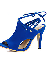 Women's Sandals Spring Summer Fall Fleece Office & Career Dress Party & Evening Stiletto Heel Lace-up Black Red Blue