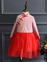 Vestido Chica de-Casual/Diario-Retazos-Algodón / Rayón-Primavera / Otoño-Rojo