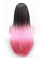 Black Omber Pink  Middle Long Straight  Synthetic Wig for Women Costume Wig Cosplay Wigs