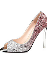Damen-High Heels-Kleid-Leder-Stöckelabsatz-Komfort-Gold Purpur Rot Blau