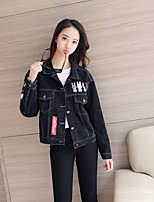 Women's Going out Casual/Daily Vintage Simple Spring Denim Jacket,Letter Solid Shirt Collar Long Sleeve Regular Others