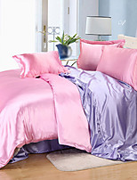 Solid Duvet Cover Sets 4 Piece Silk solid Reactive Print Silk Queen 1pc Duvet Cover / 2pcs Shams / 1pc Flat Sheet