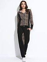 Women's Casual/Daily / Sports Sexy / Street chic Fall / Winter Set PantLeopard Hooded Long Sleeve Black / Rayon Medium