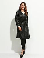Женский На каждый день / Вечеринка/коктейль / Большие размеры Однотонный Кожаные куртки U-образный вырез,Простое / Уличный стиль /
