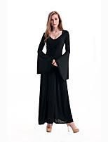 Costumes de Cosplay Sorcier/Sorcière Cosplay de Film Noir Couleur Pleine Robe / Châle Halloween / Carnaval Féminin Polyester