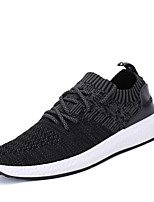 Men's Sneakers Summer Fall Comfort Light Soles Fabric Outdoor Athletic Casual Flat Heel Lace-up Dark Grey Gray Black Walking