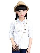 Girl Casual/Daily Embroidered Shirt,Cotton Spring Long Sleeve