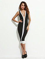 Women's Going out / Party/Cocktail Sexy / Simple Bodycon DressSolid / Letter Round Neck Knee-length