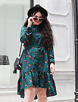 NININIU   Women's Plus Size / Casual/Daily Vintage Loose DressFloral Shirt Collar Above Knee Long Sleeve Green Polyester Fall / Winter Mid Rise