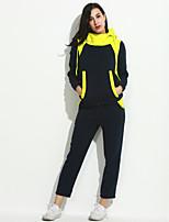 Set Pantalon Costumes Femme,Couleur Pleine Décontracté / Quotidien / Grandes Tailles simple Automne / Hiver Manches Longues CapucheBleu /