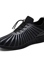 Men's Sneakers Comfort Fabric Spring Summer Outdoor Athletic Casual Lace-up Flat Heel Black White Flat