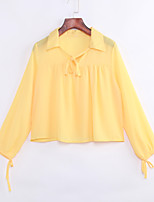 Women's Casual/Daily Simple All Seasons BlouseSolid Shirt Collar Long Sleeve Yellow Polyester Thin