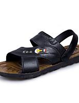 Для мужчин Сандалии Удобная обувь Кожа Лето Осень Атлетический Повседневные Удобная обувь Пуговицы На плоской подошвеЧерный