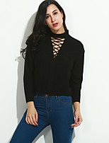 Women's Going out / Casual/Daily / Formal Spots & Checks / Sexy / Cute Regular Cardigan,Solid Black / Brown Round Neck Long Sleeve Cotton