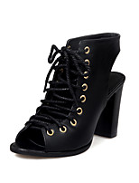 Women's Sandals Spring Summer Fall Comfort Gladiator PU Casual Athletic Party & Evening Chunky Heel Lace-up Black Beige Walking