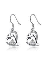 Classic Silver Plated Clear Crystal Heart to Heart Drop Earrings for Wedding Party  Jewelry Accessiories