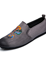 Chinoiserie Men's Loafers & Slip-Ons Spring Summer Comfort Synthetic Wedding Office & Career Party & Evening Flat Heel Lace-up Khaki Gray Black