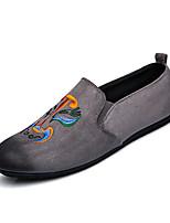 Herren Loafers & Slip-Ons Komfort Kunststoff Frühling Sommer Hochzeit Büro Party & Festivität Schnürsenkel Flacher AbsatzSchwarz Grau