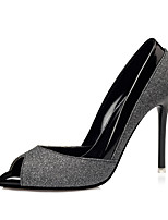 Damen-High Heels-Kleid-Leder-Stöckelabsatz-Komfort-Gold Schwarz Silber