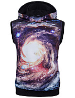 Men's Casual/Daily Hoodie Print Round Neck Micro-elastic Polyester Sleeveless All Seasons