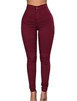 Feminino Sexy Cintura Alta Micro-Elástico Jeans Calças,Skinny Cor Única