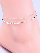 Women's Anklet/Bracelet Silver Plated Fashion Simple Style Double-layer Star Silver Women's Jewelry For 1pc
