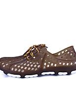 Men's Sandals Comfort Transparent Shoe PU Summer Fall Casual Outdoor Comfort Transparent Shoe Blue Brown Black Flat