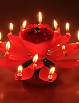 1Pcs  Beautiful Blossom Lotus Flower Candle Birthday Party Cake Music Sparkle Cake Topper Rotating Candles Decoration