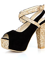 Women's Sandals Spring Summer Fall PU Synthetic Office & Career Dress Party & Evening Chunky Heel Sequin Black Red Blue