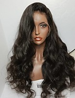Hot Sale Brazilian Wavy Front Lace Wigs for Black Women Glueless Lace Front Wig with Baby Hair 130% density Natural Color Off Black Color