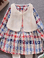 Girl's Casual/Daily Check Dress / Clothing SetCotton Spring / Fall Blue / Red