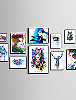 E-HOME® Framed Canvas Art People And Animals Watercolor Painting (3)Theme Series Framed Canvas Print One Pcs